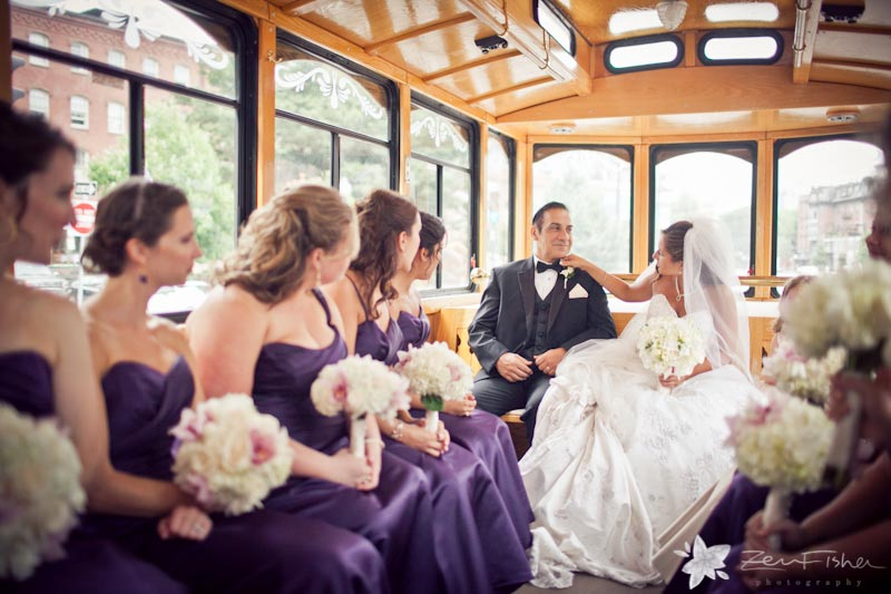 Boston Park Plaza Hotel Weddings, Bride, Bridesmaids, Bridal Party, Wedding Trolly