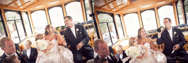 Boston Park Plaza Hotel Weddings, bride and Groom, wedding trolley, bridal party, boston weddings