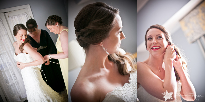 Blithewold Mansion wedding, bride getting ready, bridal hairstyles, bridal jewelry, wedding gown