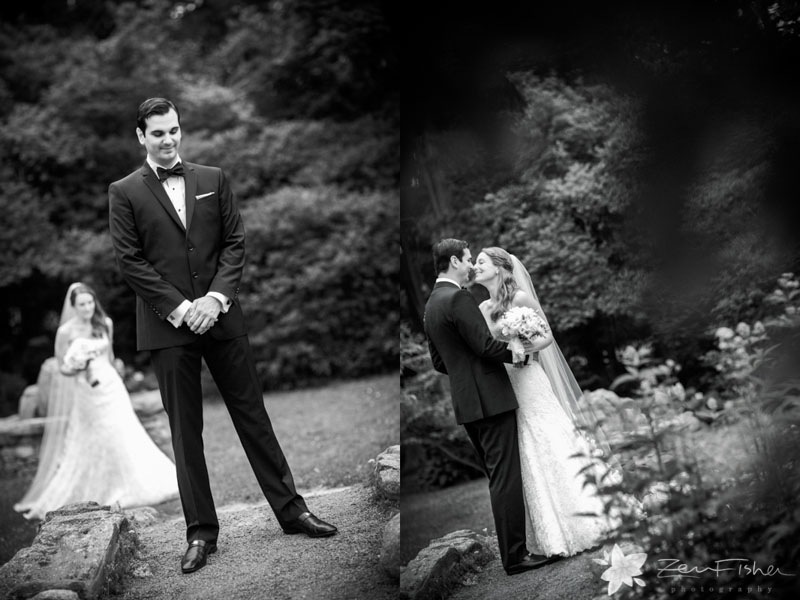 Blithewold Mansion Wedding, Bride and Groom, First Look, Wedding Portrait, B&W Wedding photography