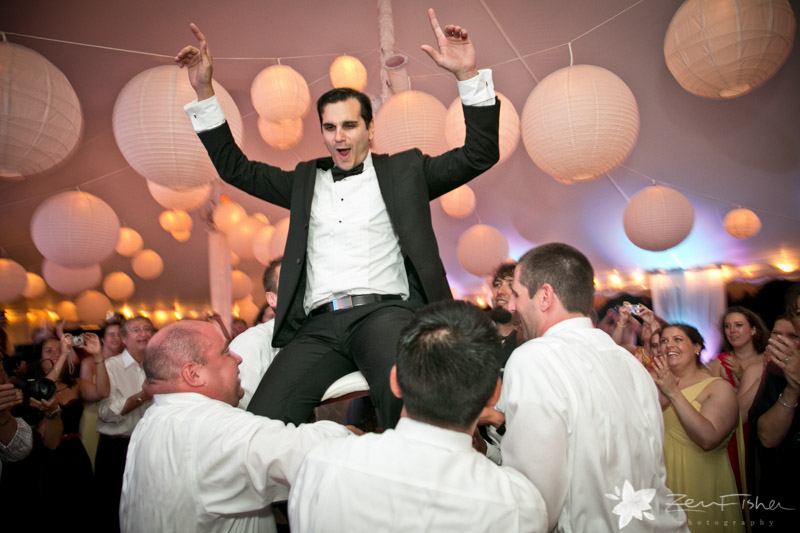 Blithewold Mansion Wedding, Wedding reception, groom, dancing, hora, tent wedding, wedding guests