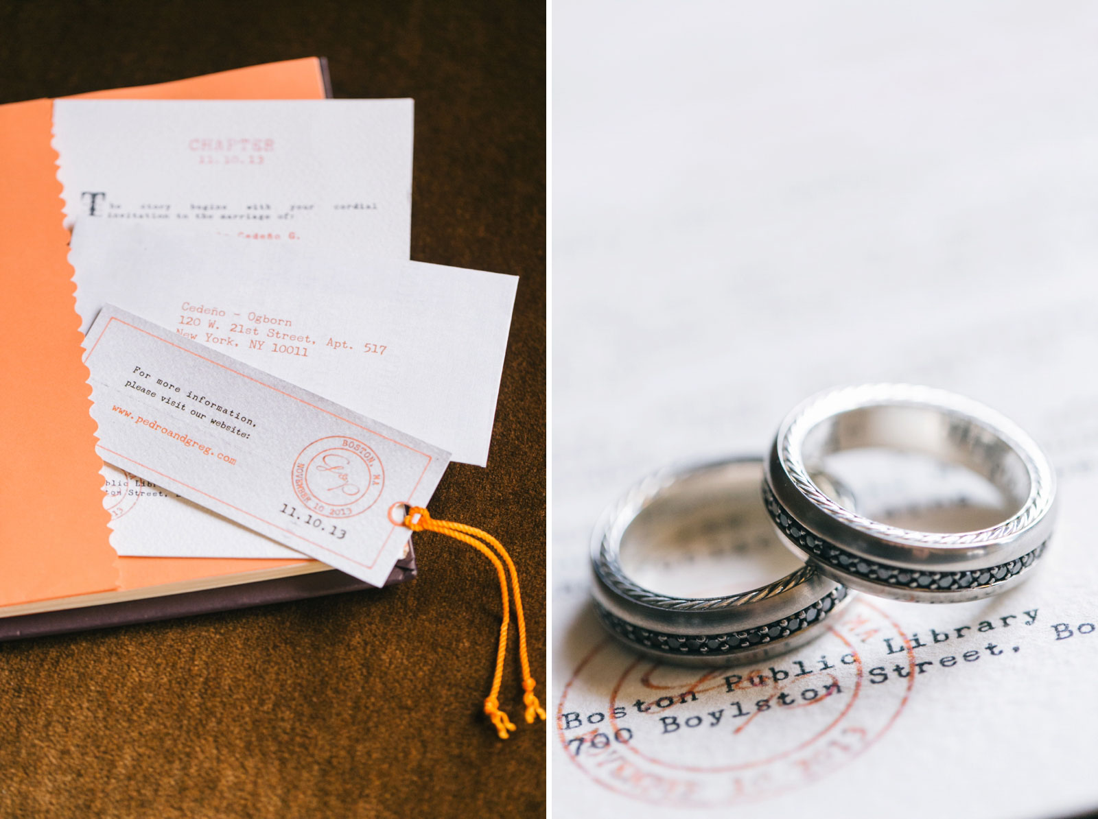 Detail shot of the groom's wedding rings and library-themed invitation suite.