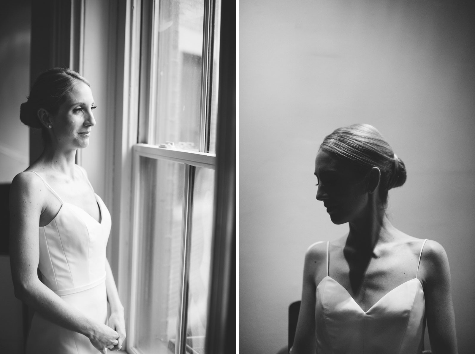 black and white bridal portraits with natural light and strong shadows
