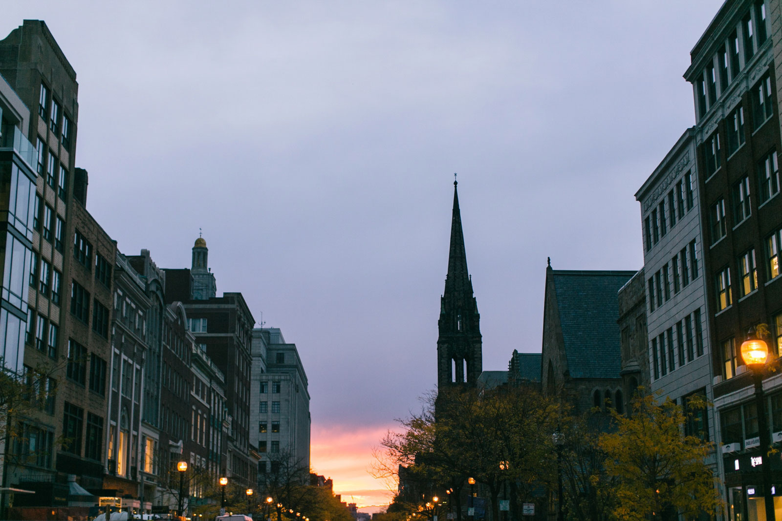 Sunset down the street in Boston's back bay neighborhood before the wedding ceremony