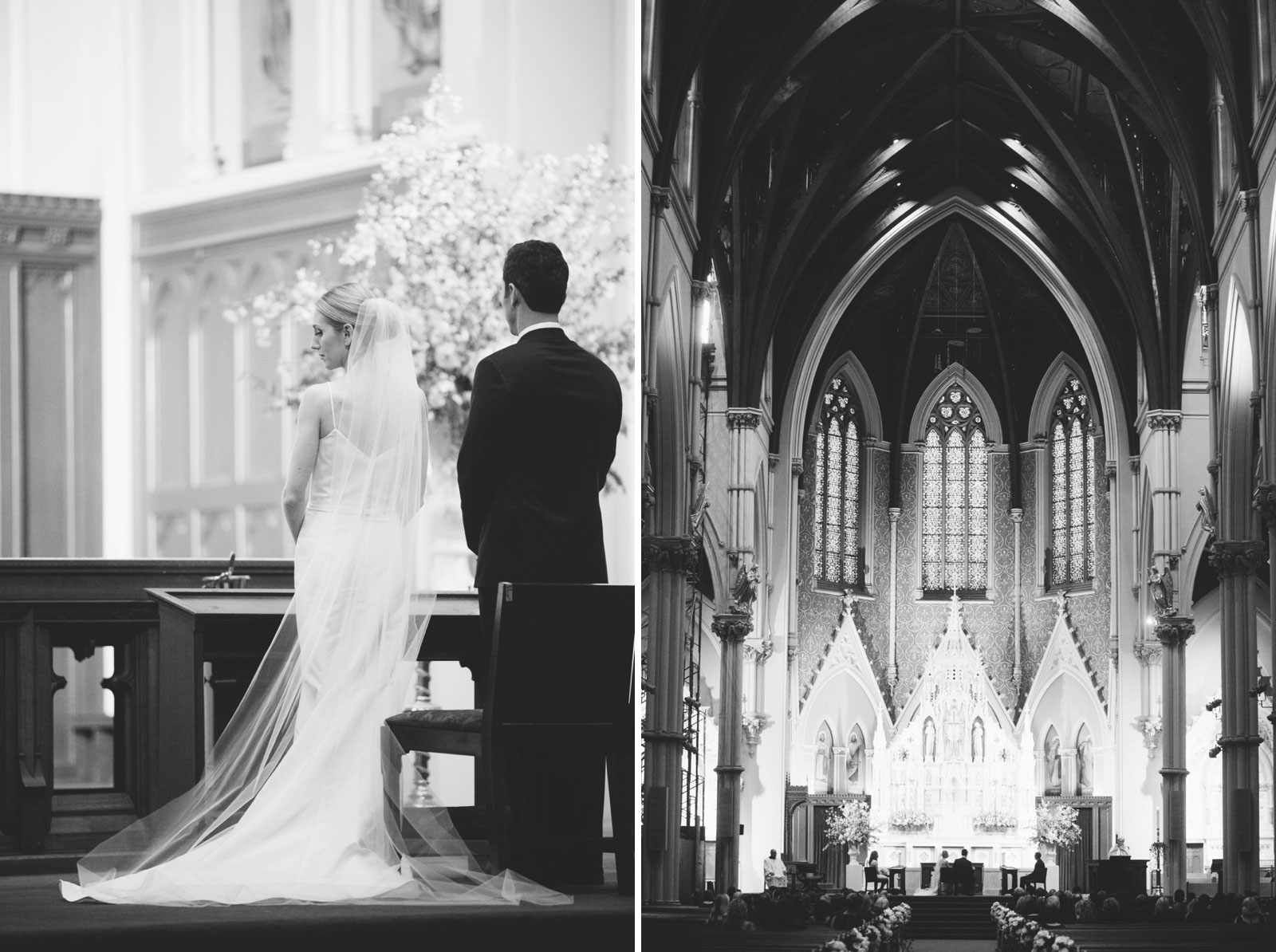black and white shots of bride and groom standing at altar at large cathedral with vaulted ceiling