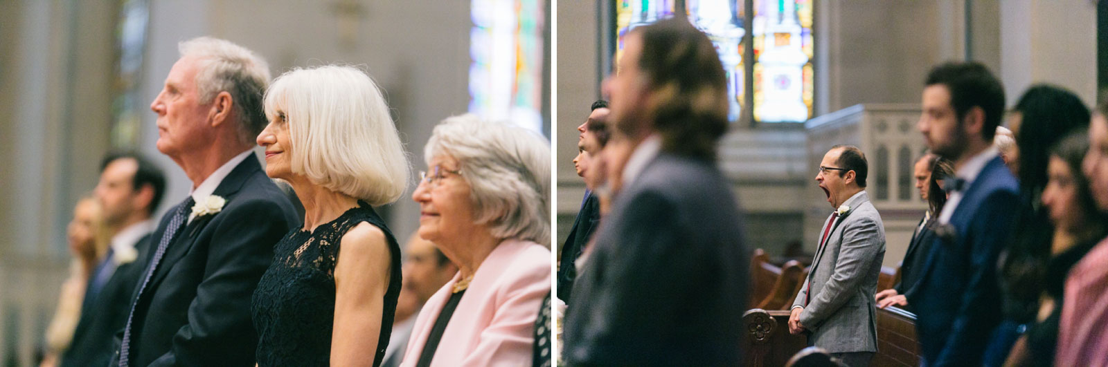 parents of the bride smiling and watching ceremony at traditional Roman Catholic wedding