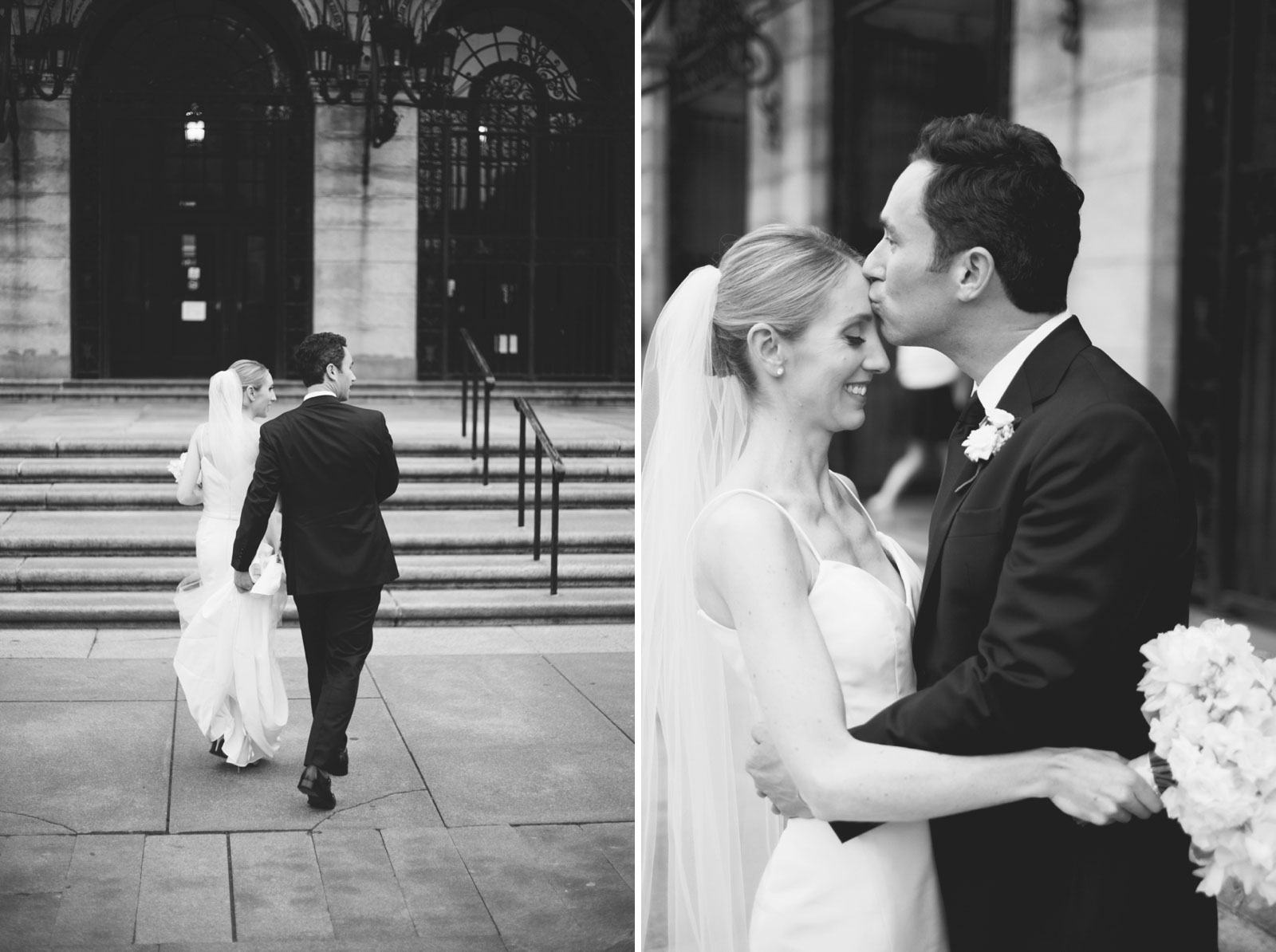 black and white portraits of bride and groom getting cozy together in front of Boston Public Library