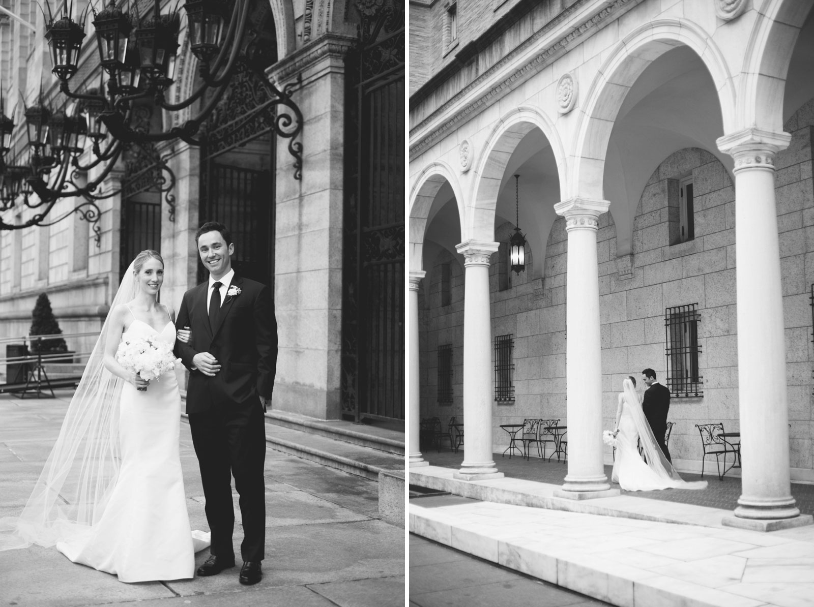 black and white wedding portraits of bride and groom exploring around the Boston Public Library