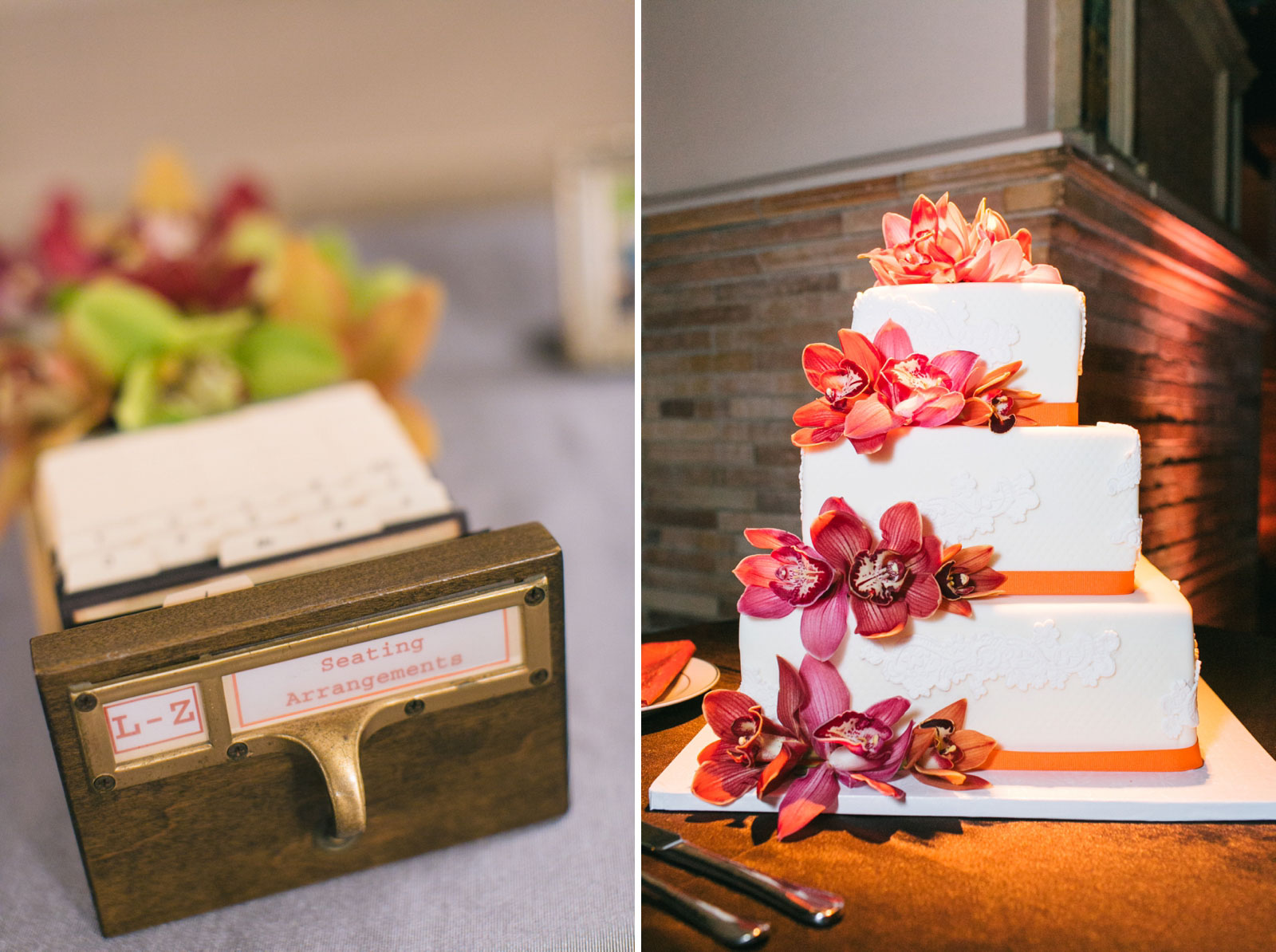 Library-inspired card catalog place cards and vibrant wedding cake adorned with purple orchids