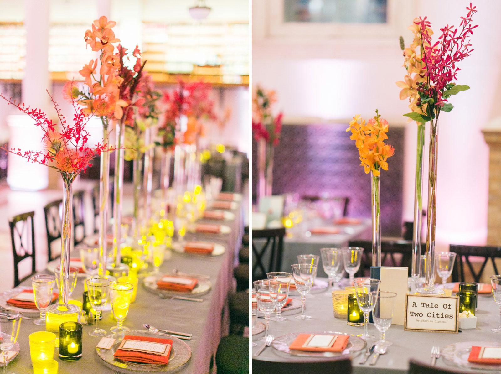 Tablescapes are decorated with bright orange and pink florals, and book-themed centerpieces