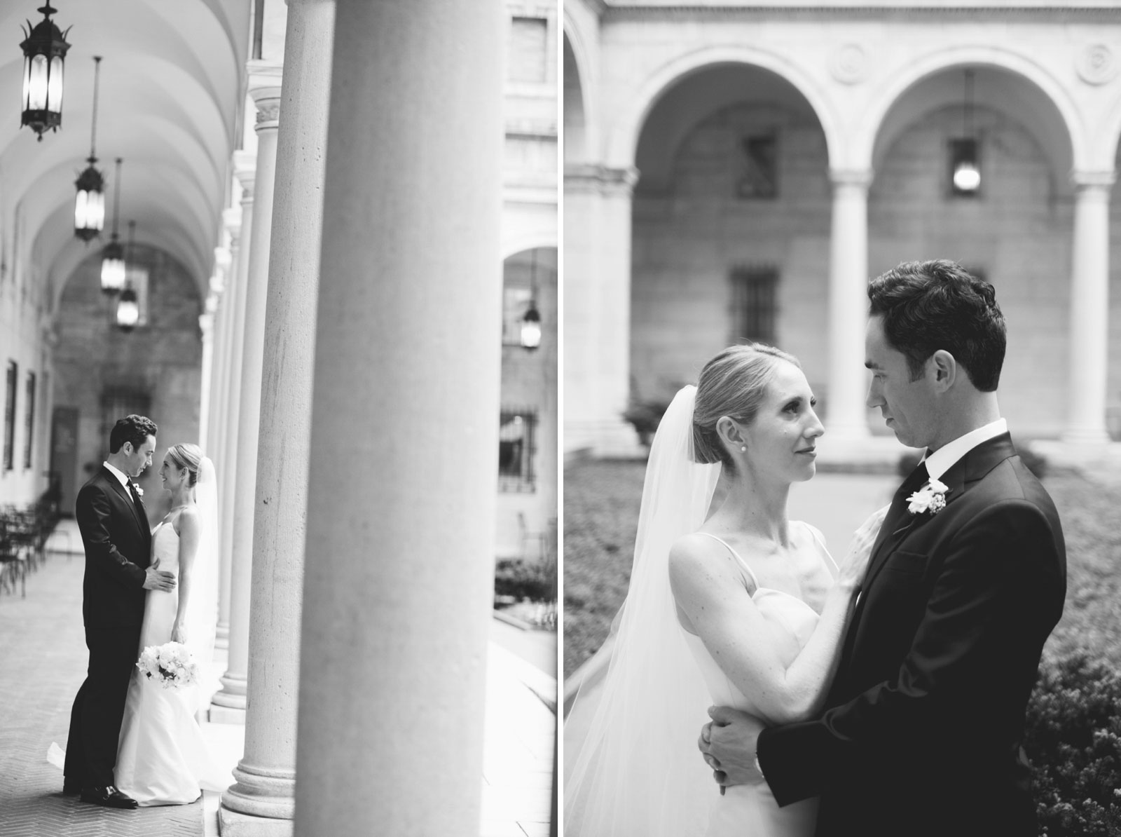 romantic natural light wedding portraits at Boston Public Library courtyard in black and white