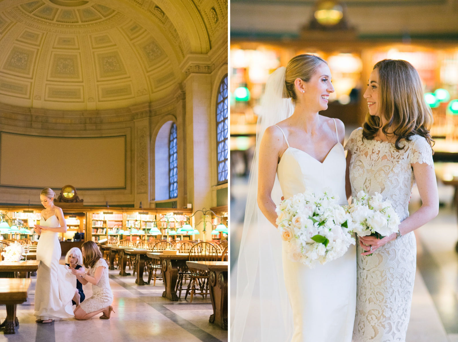 casual bridal party photos at reading room in Boston Public Library with domed ceiling