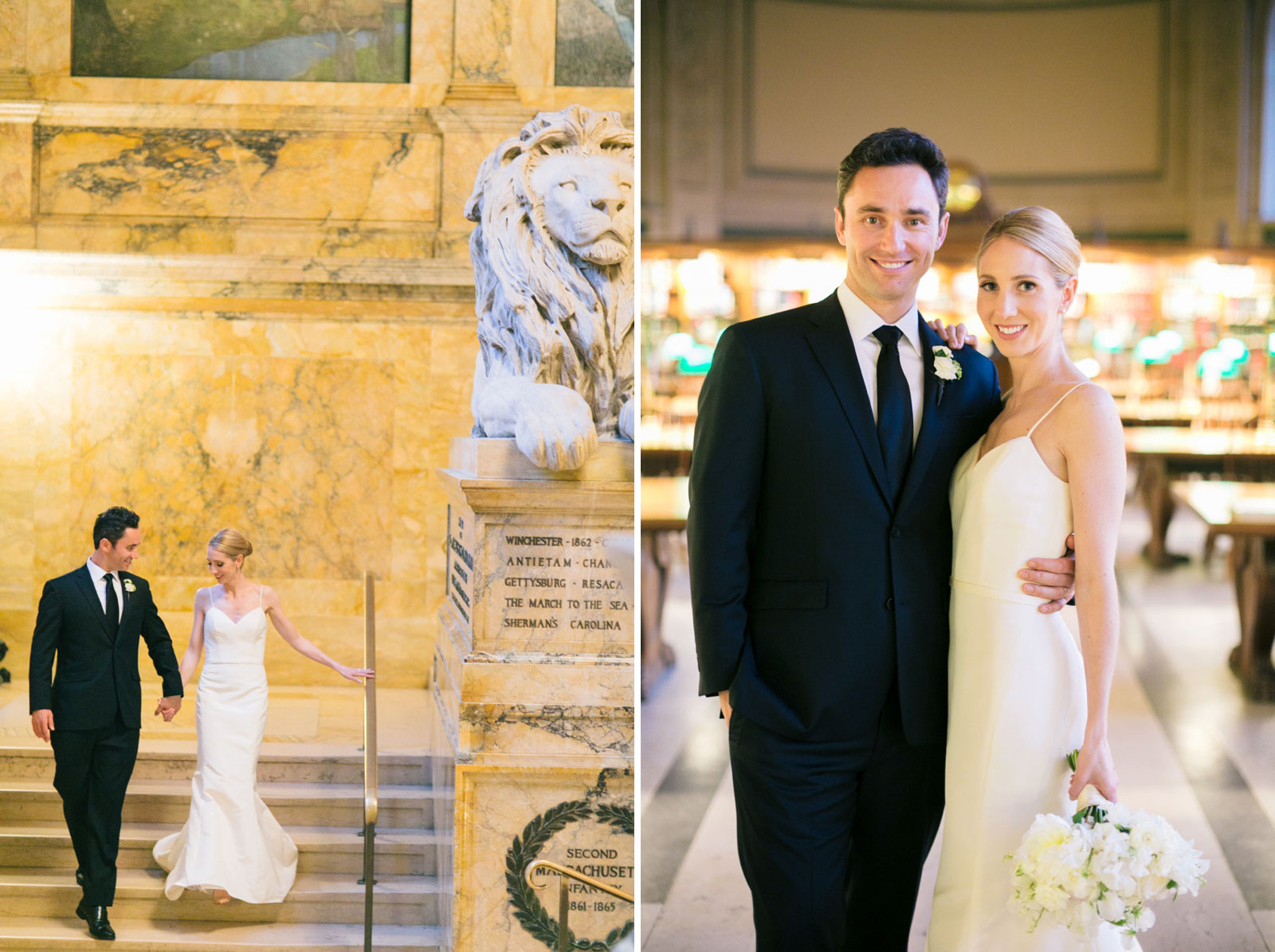 romantic bride and groom portraits walking around Boston Public Library marble staircase