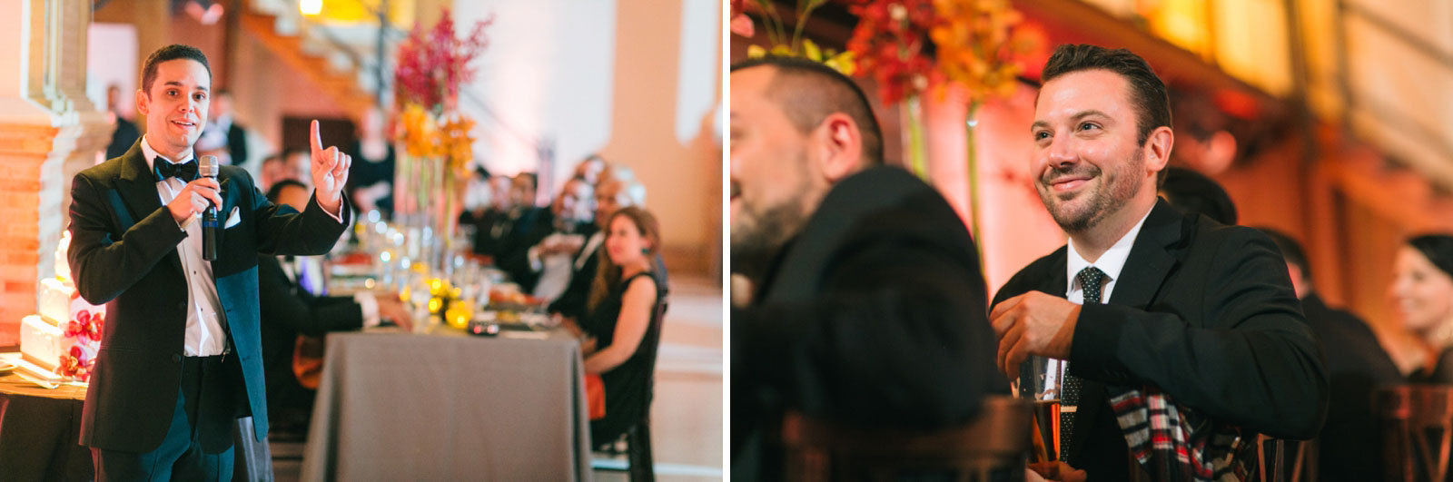 Best man giving speech and wedding guests reacting to best man speech during wedding reception