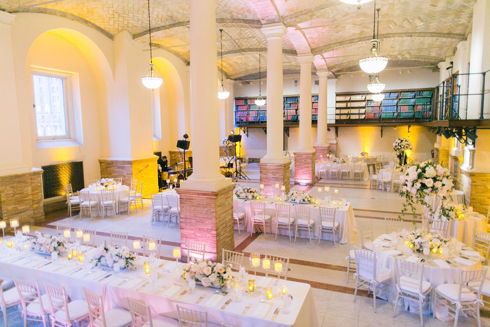 simple clean wedding reception decor in Guastavino room in Boston public library