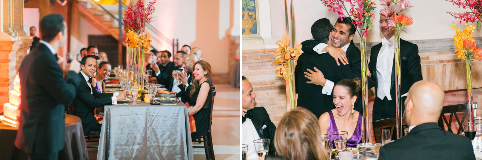 Guests laughing during best man speech, groom hugging best man after best man speech