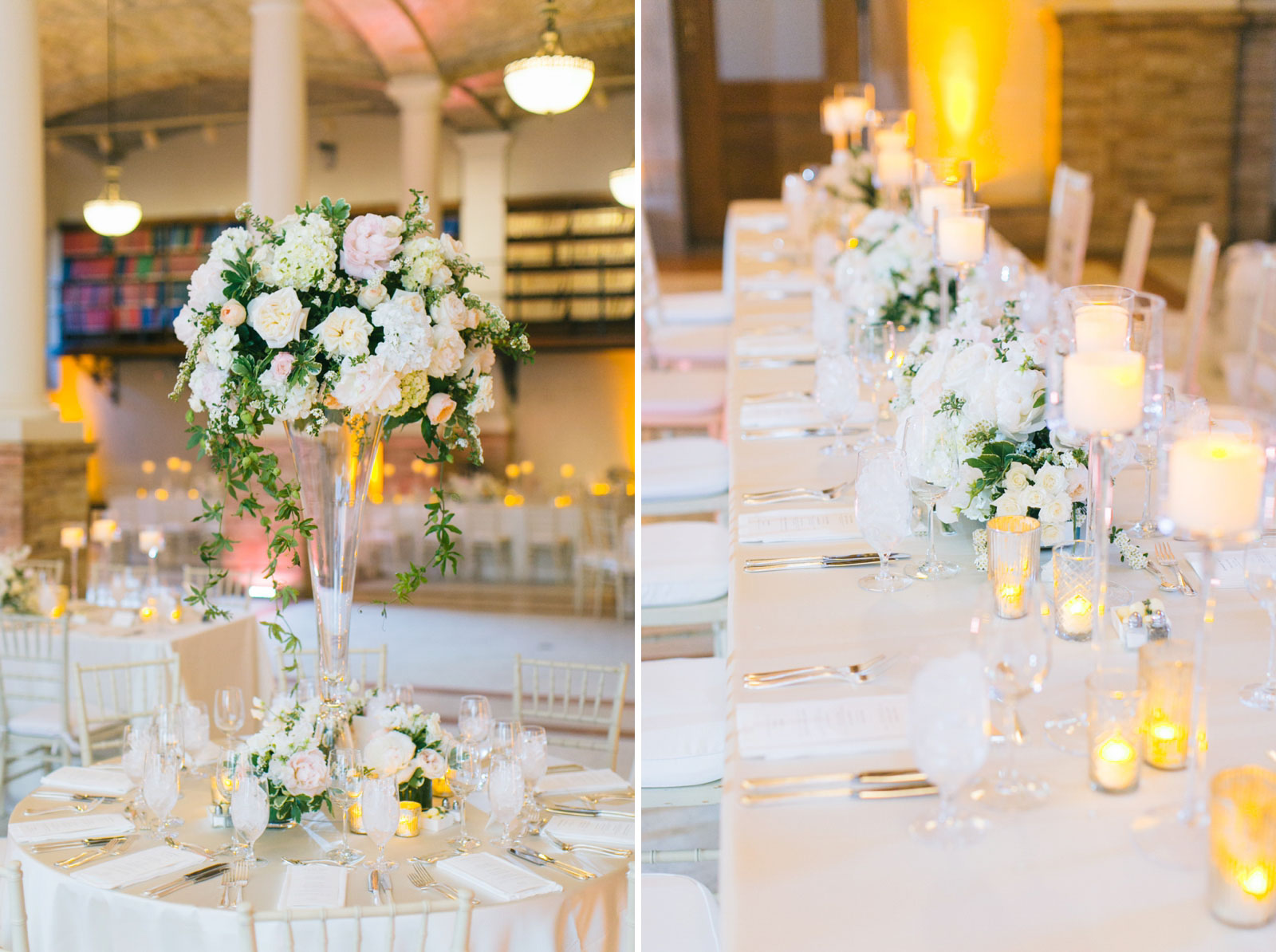 simple clean decor with white roses and pink peonies for wedding reception at BPL