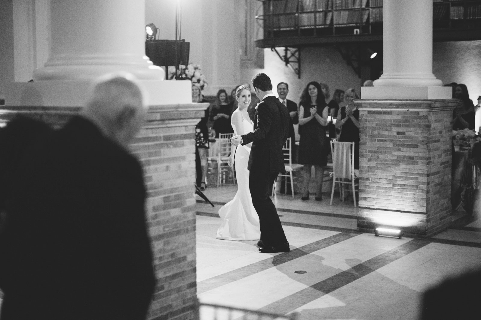 bride and groom sharing first dance at Boston Public Library wedding reception in Guastavino room