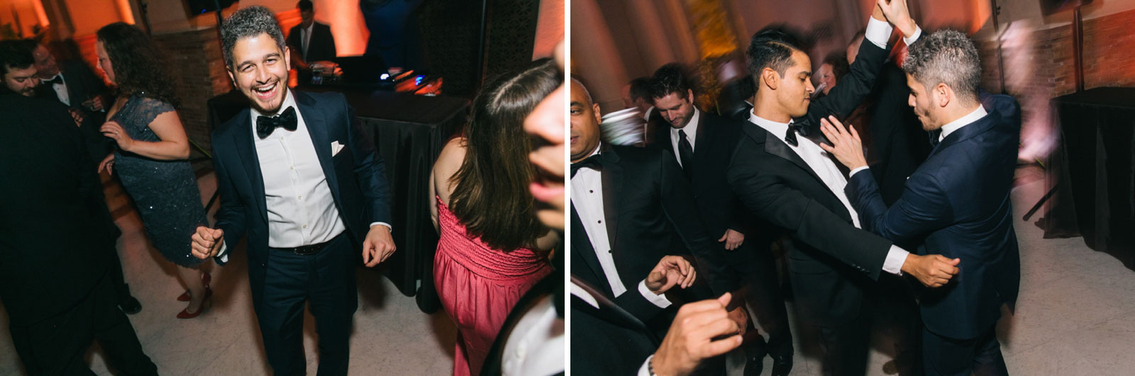 Wedding guests busting a move on the dance floor at Boston Public library wedding reception
