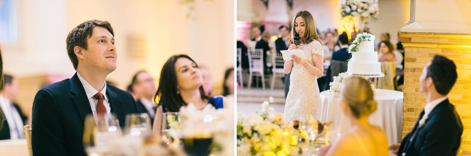 candid guest reactions during maid of honor speech at Boston Public Library wedding reception