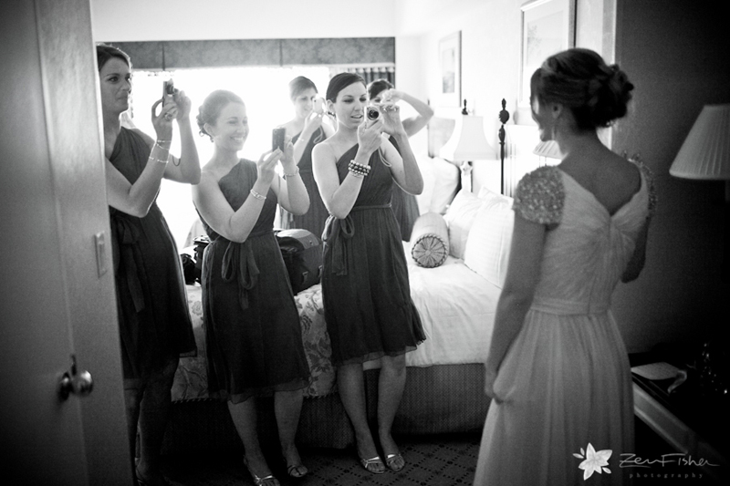 Boston Harbor Hotel Wedding, Bride Getting Ready, Bridesmaids, Black and White Wedding Photography