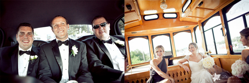 Boston Harbor Hotel Wedding, Bridal Party, Wedding Trolley, Bride & Groom, Boston Weddings