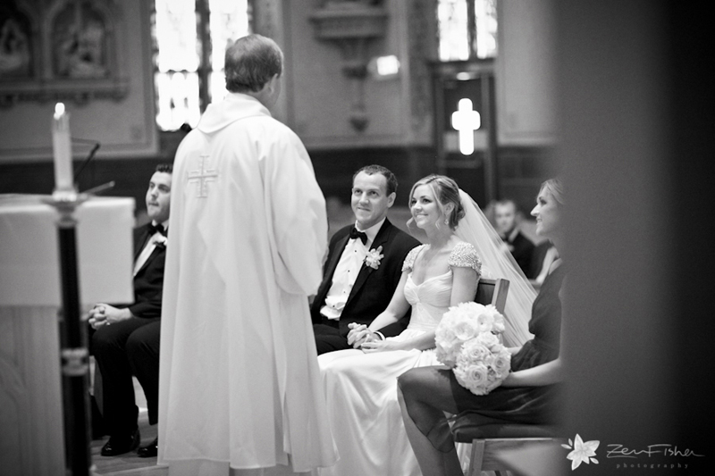 boston weddings, church wedding, bride & groom, wedding ceremony, black and white wedding photograph