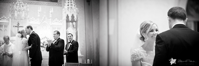 boston weddings, church wedding, bride & groom, wedding ceremony, wedding kiss, b&w wedding photos