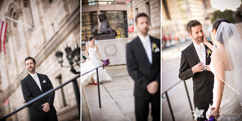 Boston Public Library Weddings, Bride and Groom, First Look, Romantic Wedding Portraits
