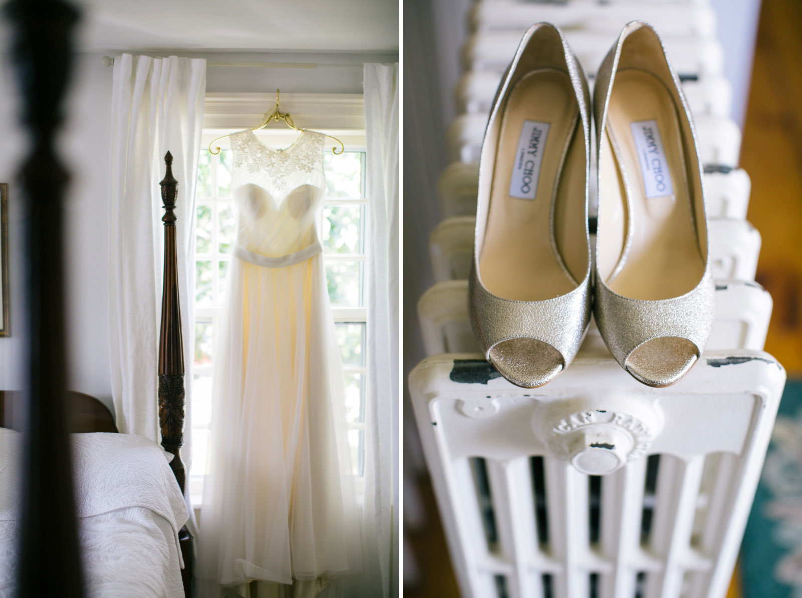 Detail of wedding dress hanging in window and bride's gold shoes in natural ethereal light.