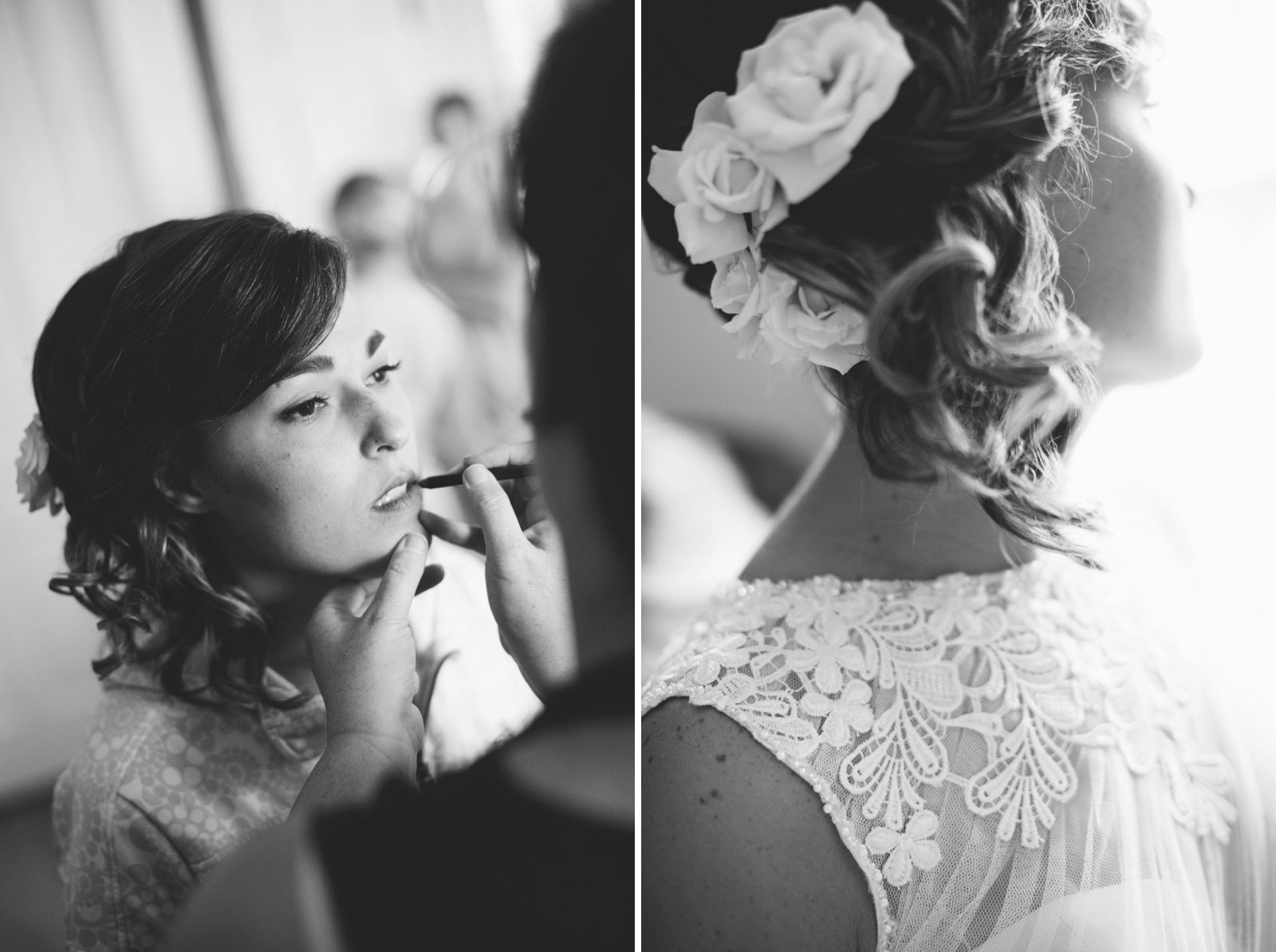 Bride getting ready and getting her makeup done, detail of bride's hair and dress, black and white.