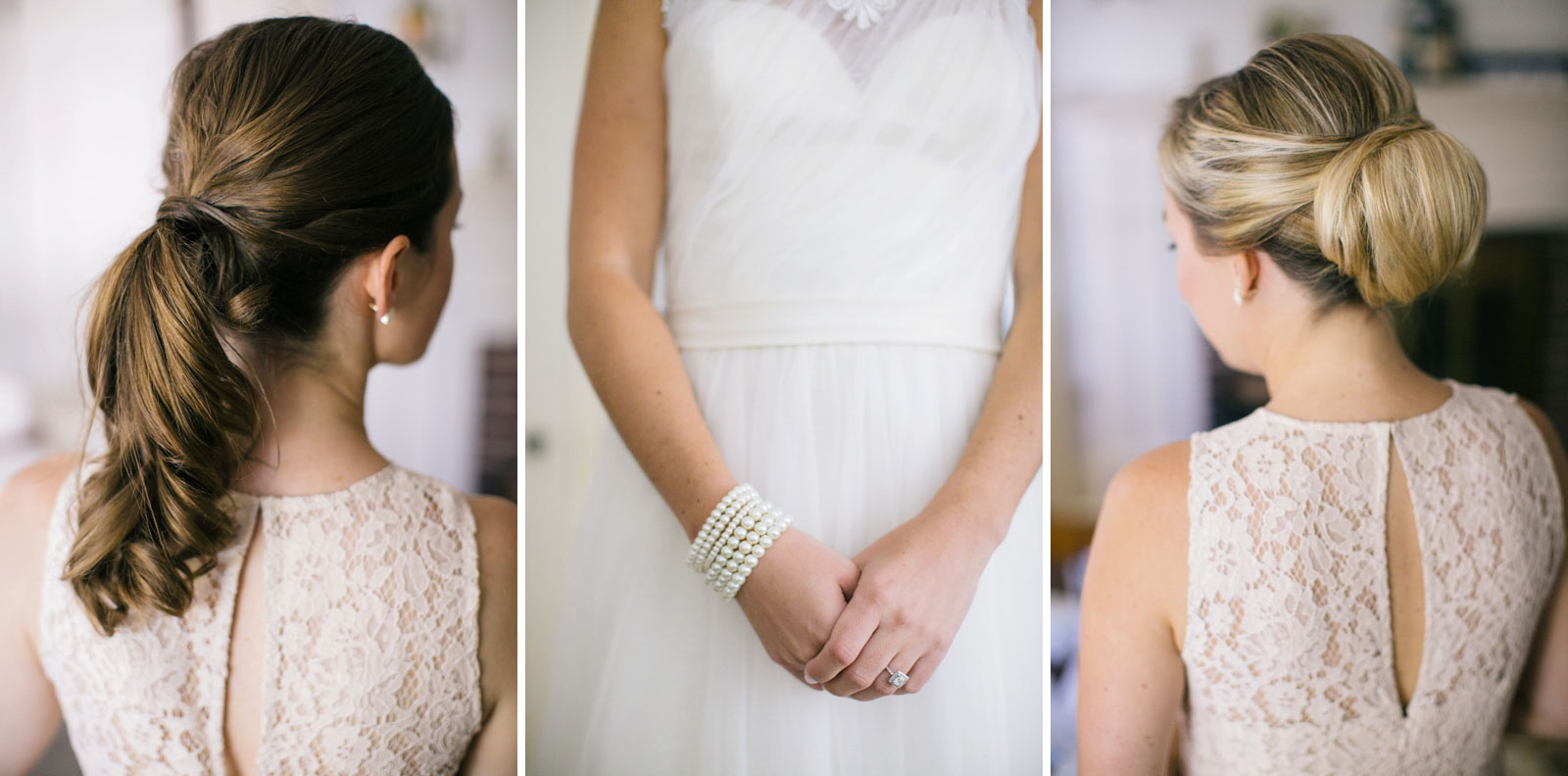 Detail of bride's pearl bracelet and engagement ring, bridesmaid's updos, pink lace bridesmaid dress