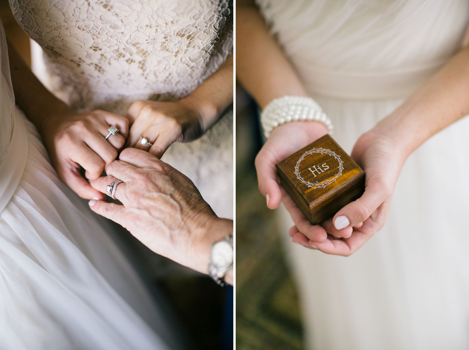 bride, her mother, and sister hold out their engagement rings. Bride holds box with groom's ring