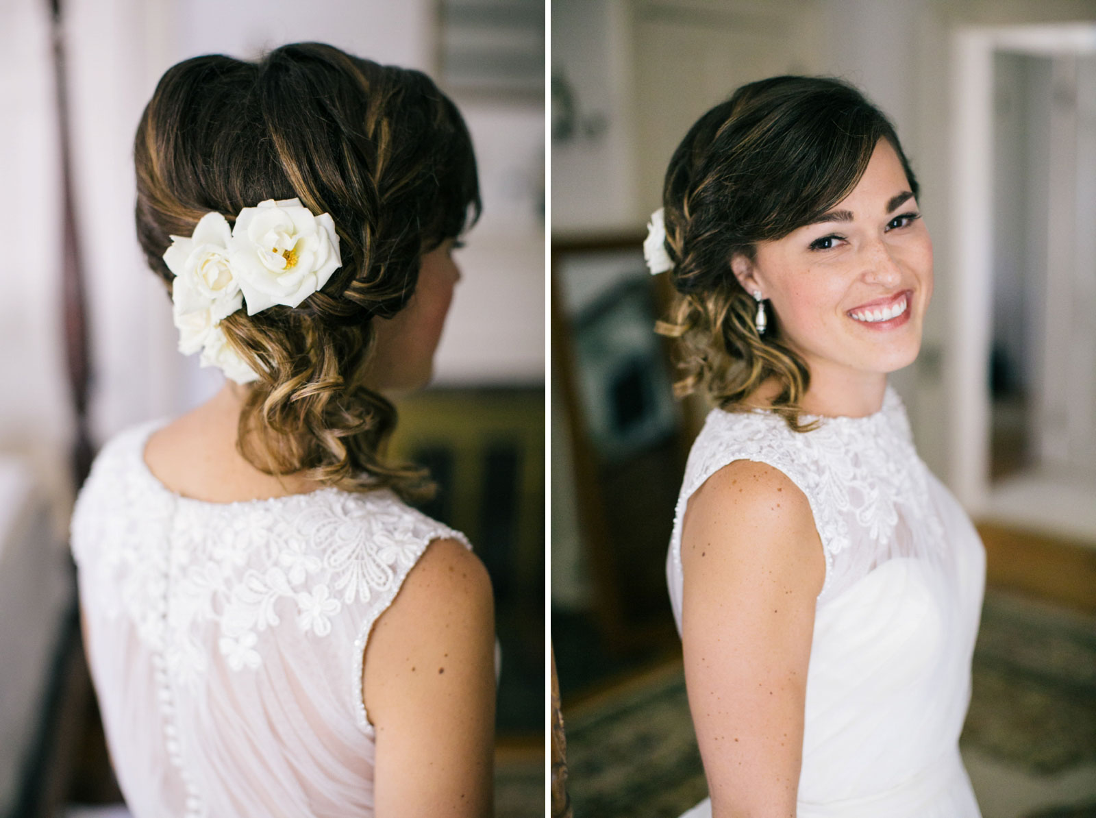 Detail of bride's hair with white roses and braided updo, portrait of bride smiling.