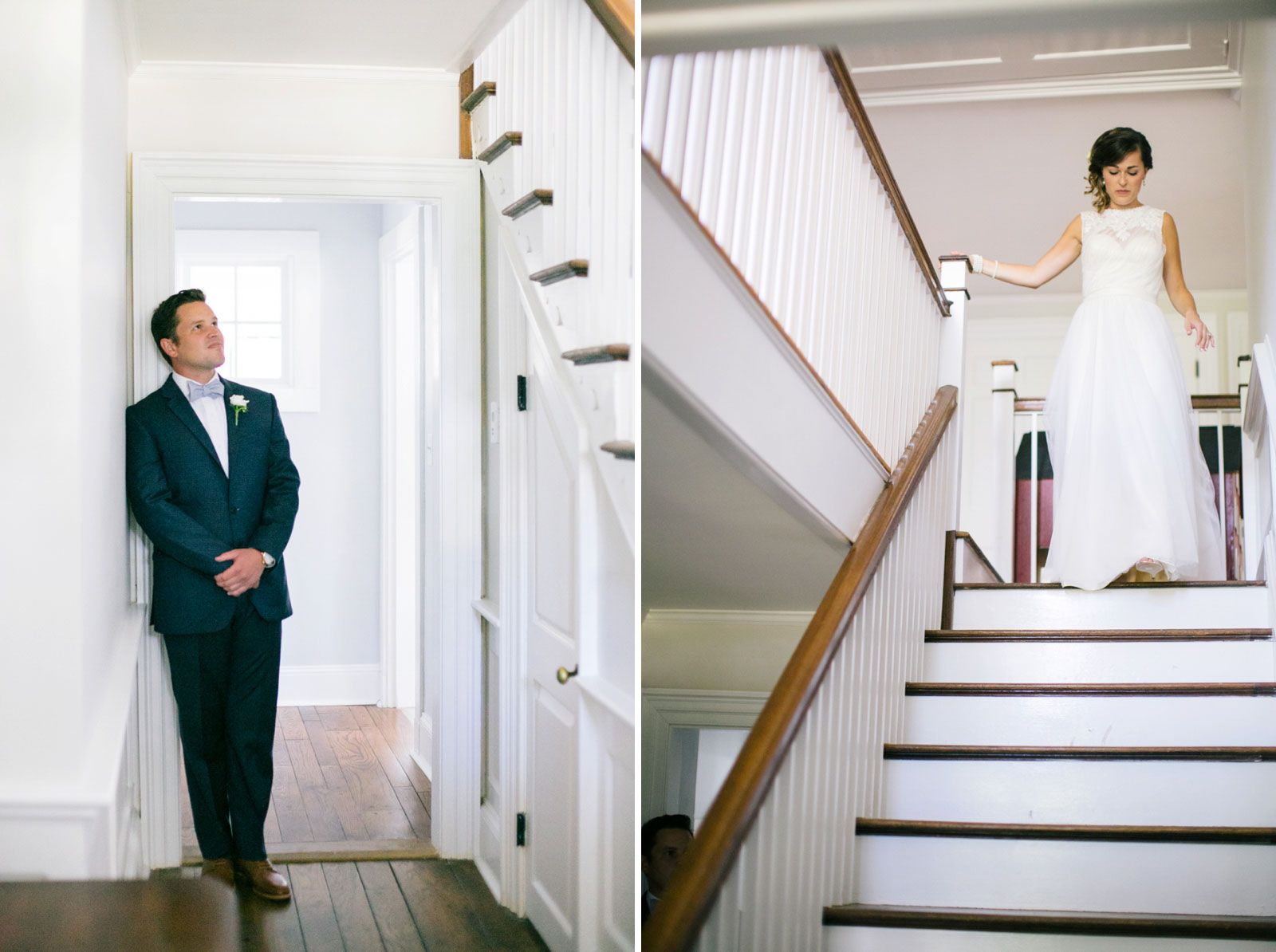 Groom waiting for bride to come down the stairs for their first look, bride walking down the stairs