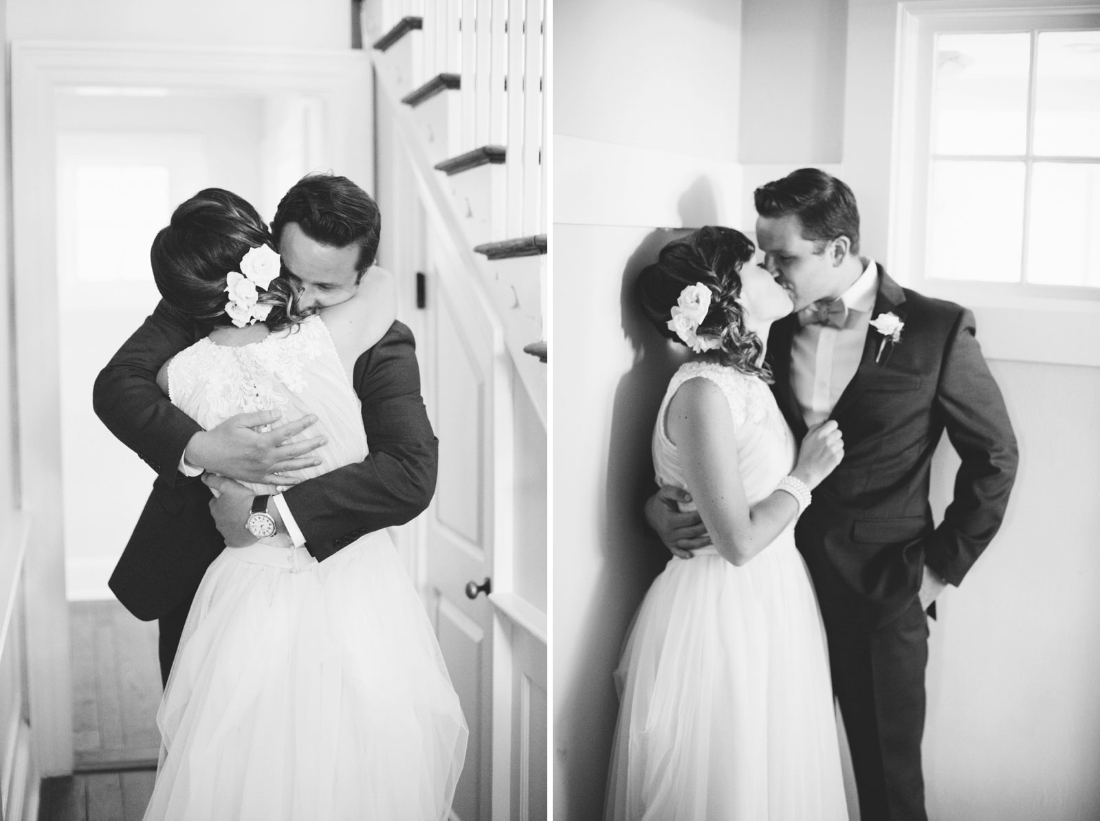 Bride and groom embracing during their first look, romantic black and white