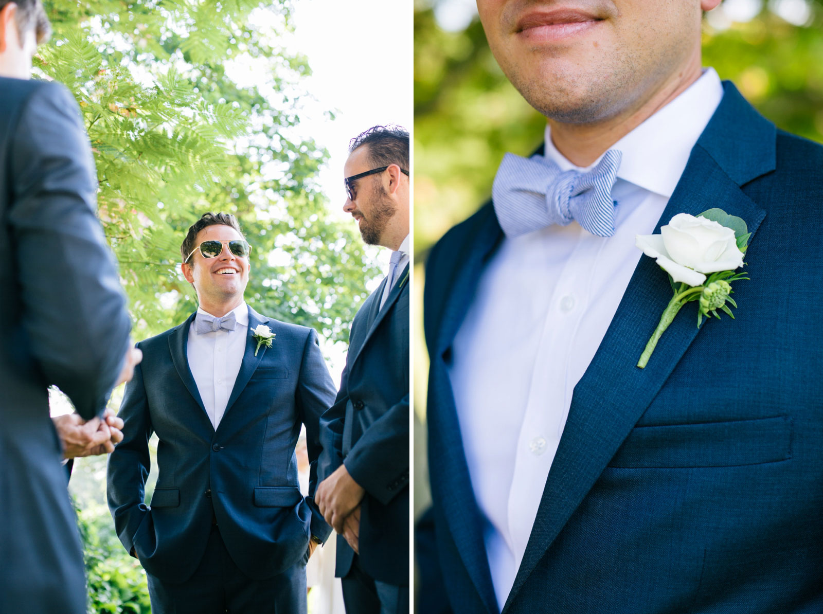 Candid groom portrait, simple white rose boutonniere, nautical white and blue seersucker bow tie