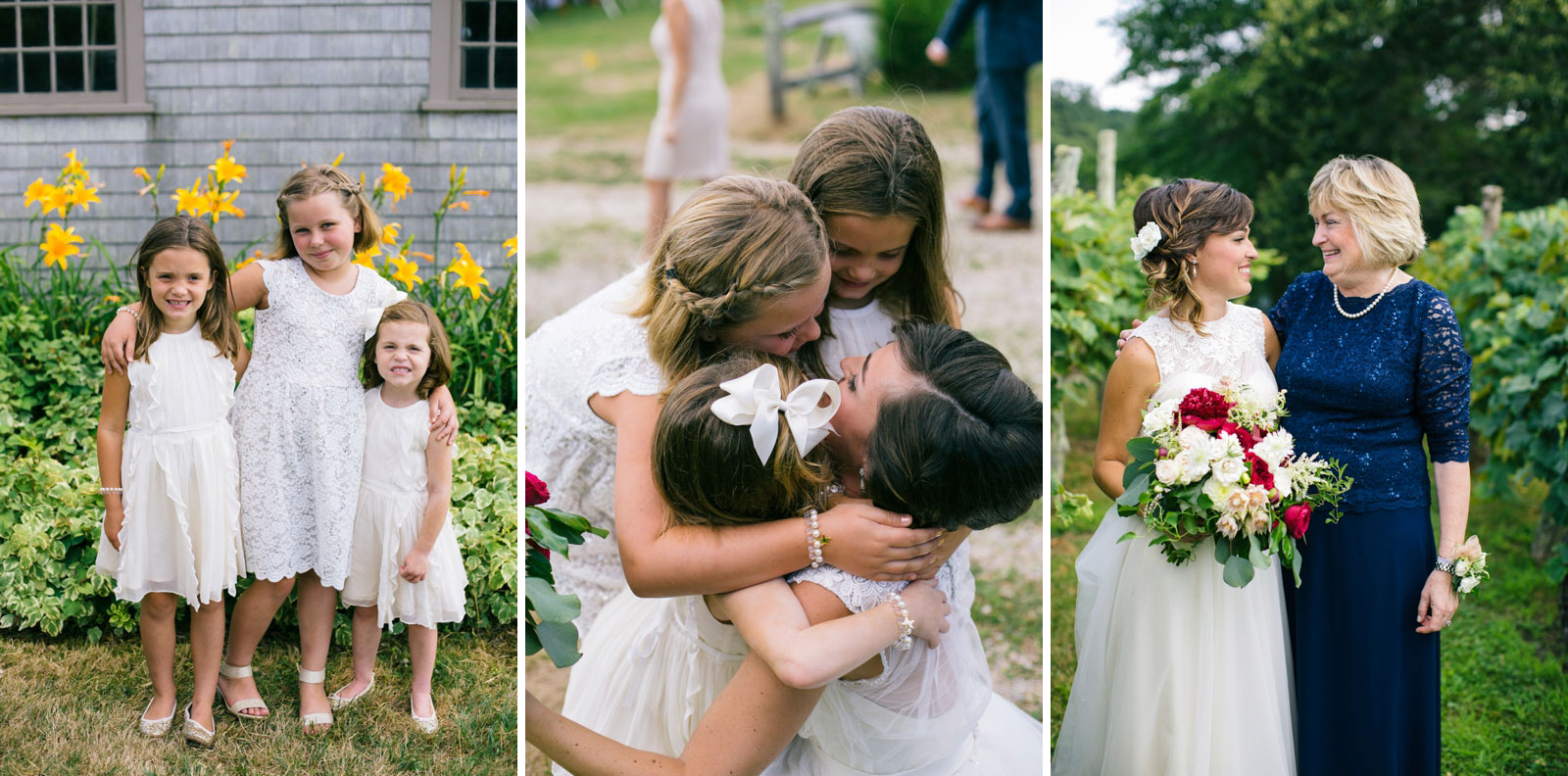 portrait of bride's little cousins in front of daffodils, playful portrait of bride and her mother