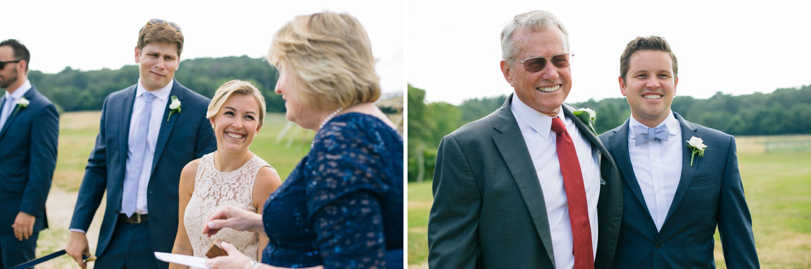 Candids of family hanging out during formal portraits before outdoor summer wedding ceremony.