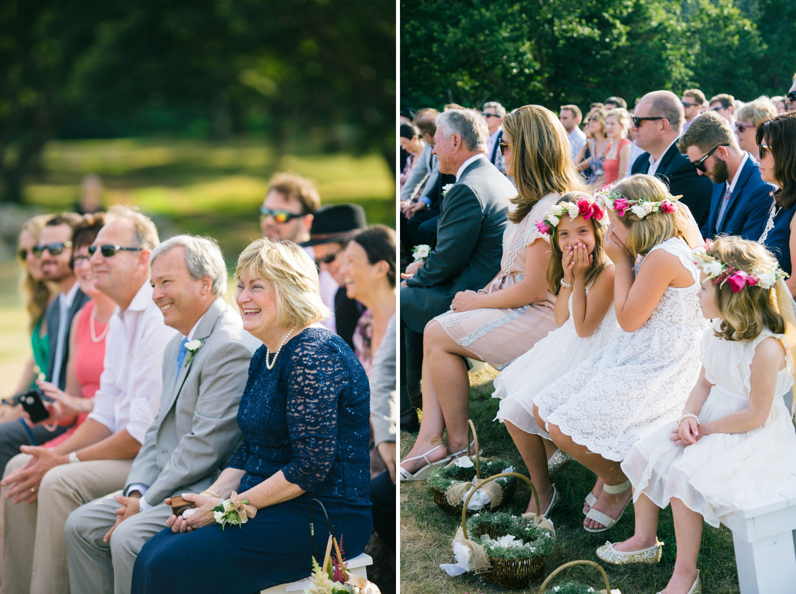 Mother and father of the bride reacting and laughing during ceremony, flower girls giggling