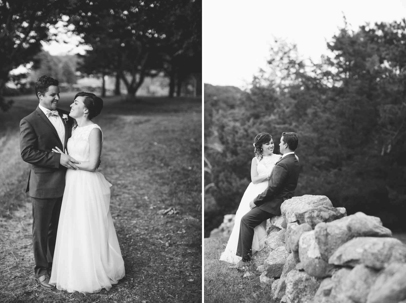 romantic black and white bride and groom portraits at Bourne Farm on Cape Cod in the summer