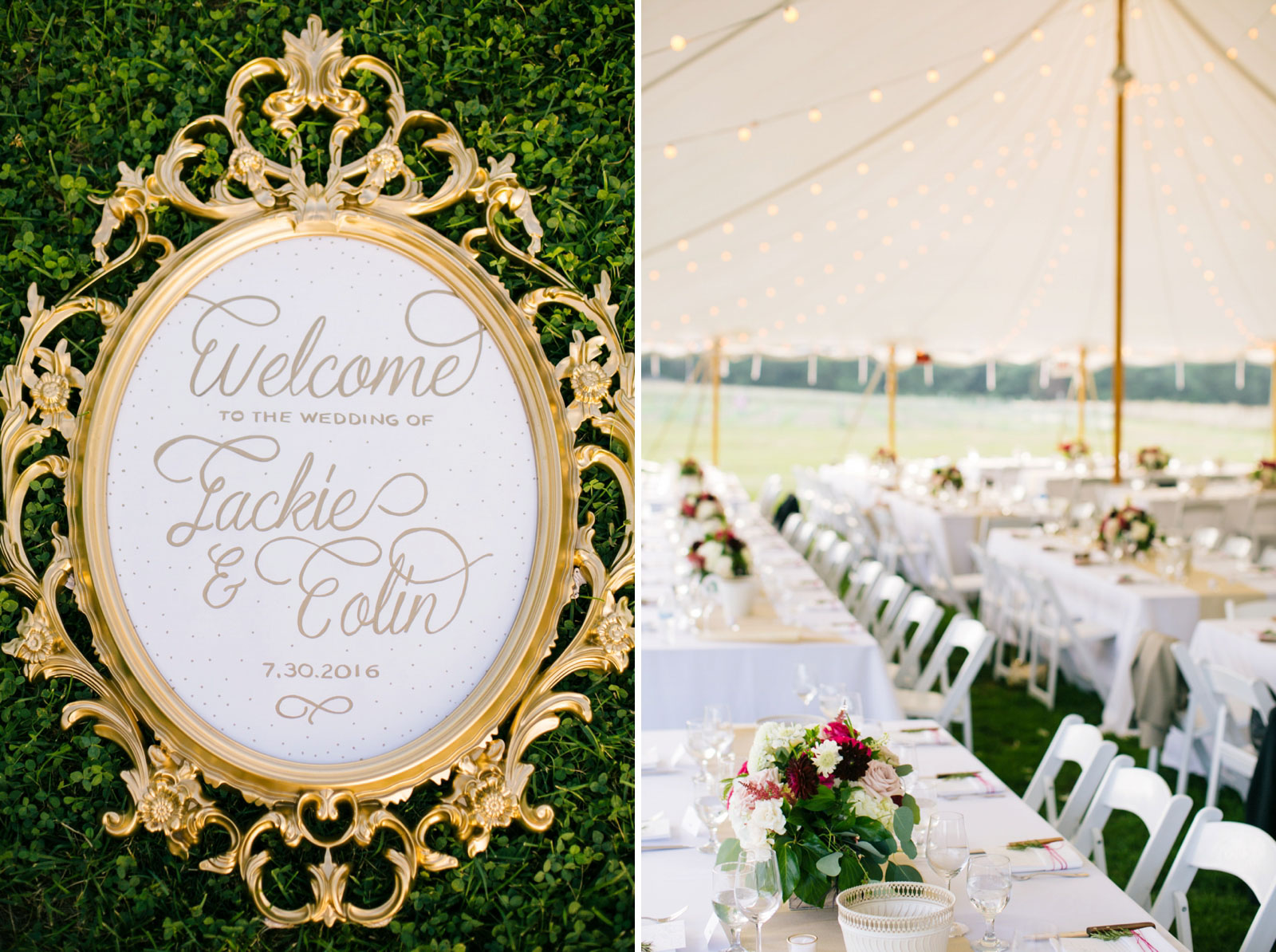 Antique frame with welcome to the wedding of Jackie and Colin 7.30.2016, tented wedding reception
