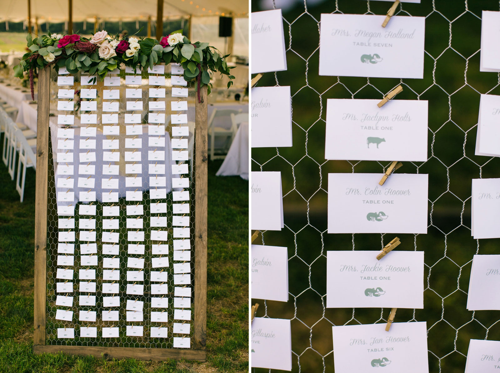 Detail of place cards clothes-pinned to chicken wire, Mr. Colin Hoover, Mrs. Jackie Hoover Table 1