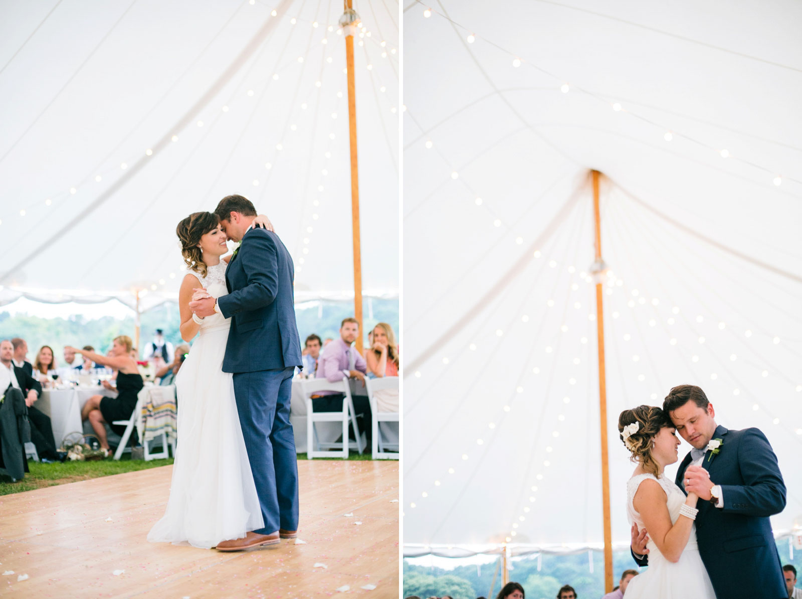 Bride and groom share their first dance under tent with string lights and soft natural light.