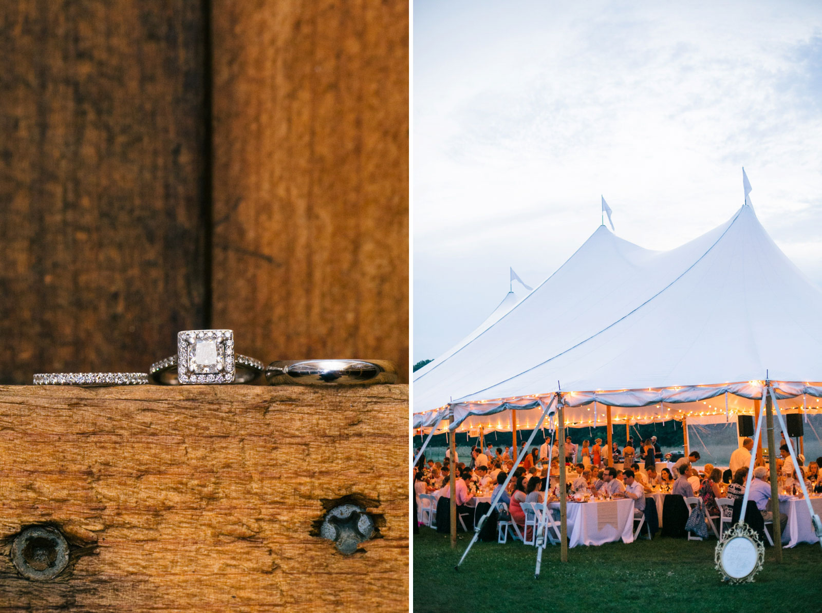 Detail of wedding rings sitting on ledge in barn, view of wedding reception under tent at dusk.