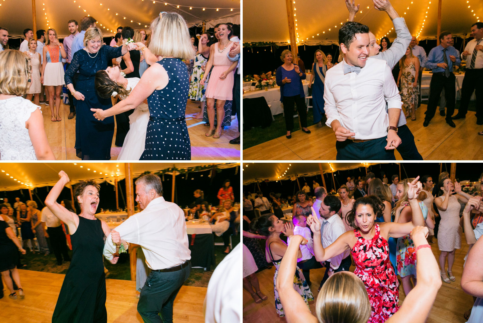 Wedding guests dancing and having fun on the dance floor at tented wedding reception at Bourne Farm.