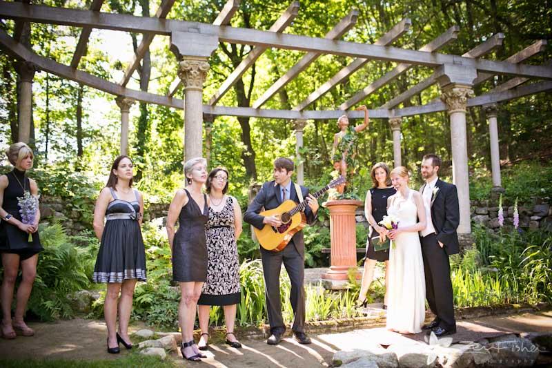 Codman Estate Wedding Ceremony Bride And Groom Musicians Garden
