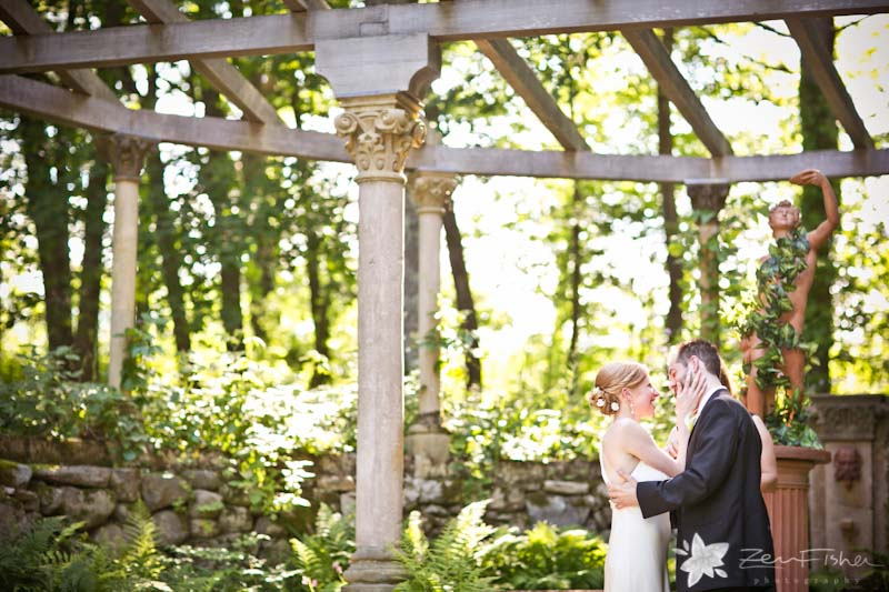 Codman Estate Wedding Ceremony Bride And Groom Portrait Garden