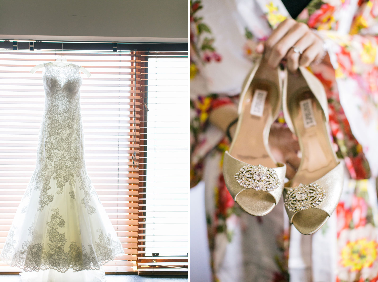 floral lace sweetheart wedding dress hanging in window, close up of bride holding gold shoes