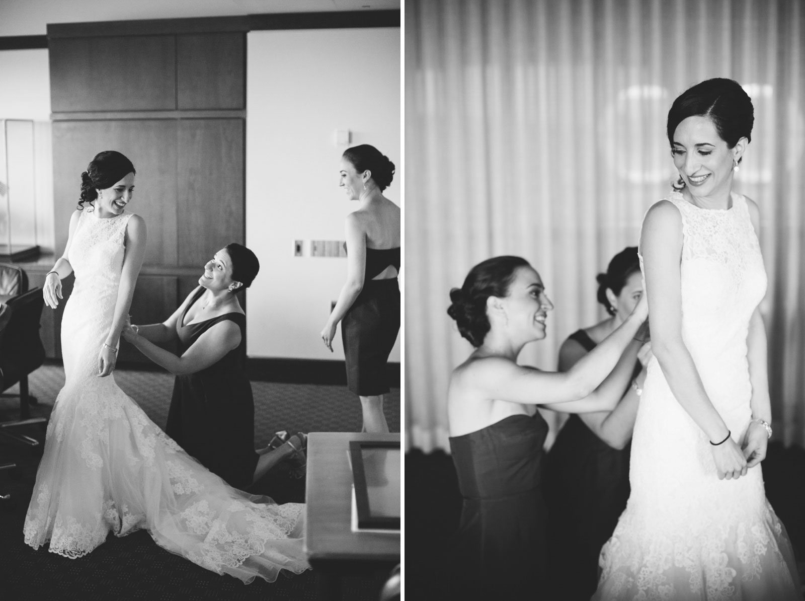 black and white candids of bridesmaids helping bride into her wedding dress at BEC